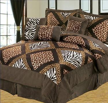 Marvelous  Pieces Brown Zebra Giraffe Leopard Animal Print Comforter Set Micro Fur Bed in
