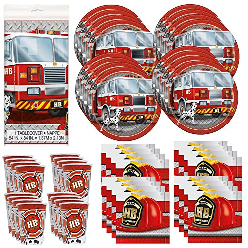 Fire Trucks Birthday Party Supply Pack Bundle Serves 16 (Fire Engine Party Supplies compare prices)