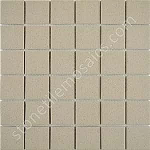 Beige speckled unglazed porcelain mosaic square 2x2 inch for 10 inch floor tiles
