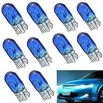 AUDEW 10 x T10 W5W 168 Auto Véhicule Incandescence Ampoule Voiture Lampe Bleu Lumière DC12V 5W