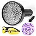 Ticoze Black Light UV Flashlight 100 LED Ultraviolet Handheld Blacklight for Pet Dog Cat Urine Stain Bed Bugs Scorpions Counterfeit Money Detector with Yellow UV Protective Safety Sunglasses Free