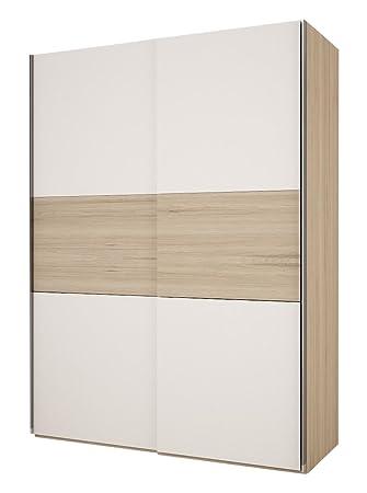 Maximus-Möbel Deutschland 13.7-01-1-00 Kleiderschrank Slide, 150 x 210 x 62 cm, Vorder-Dekor weiß, Bauchbinde eiche sonoma-Dekor, Korpus-eiche sonoma Dekor