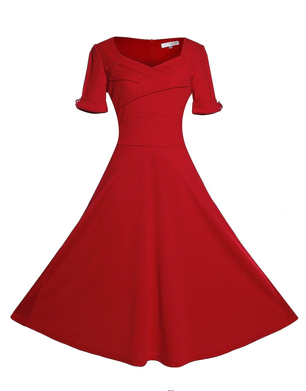 Relipop Women's Vintage V-neck Half Sleeve Dress Casual A-line Dresses 0