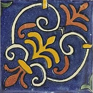 Amazon.com: Box of 9 - 4¼ x 4¼ Herreria - Talavera Mexican Ceramic