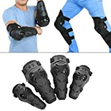 Qiilu 4 pcs Motorcycle Motocross Cycling Elbow and Knee Pads Protection Shin Guards Body Armor Set Black for Adults (Color: Black, Tamaño: Adult)