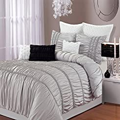 Romantica Silver 5 Piece Embroidery Comforter Bed In A Bag Set