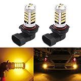 2 Pack Striking Orange Yellow 9006 HB4 LED Car Light Bulb for Replacement Daytime Runnig Lights DRL or Car Fog Light Lamps 12V (Color: Yellow, Tamaño: 9006)