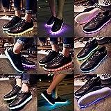 M0N0liTH 黒 ブラック 七色 レインボー 11パターン 光る LED スニーカー 男女兼用 ( 選べる 単色 連続 発光 ) カジュアル スポーツ シューズ 運動 靴 夜 ウォーキング 散歩 USB 充電 キラキラ ライトアップ