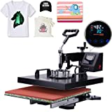 APWONE Heat Press 15x15 Inch Heat Press Machine 2 in 1 Multifunctional DIY LED Digital Heat Press Transfer Sublimation 360 Degree Swing-Away for T-Shirts Hat (Color: 15inch)