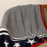 PLUCHI The Star Walk Dark Navy & Red 100% COTTON KNITTED KIDS BLANKET