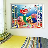 Zooyoo Wholesale Peel and Stick Wall Sticker for Kids Baby Bedroom (50*70CM Princess Ariel)