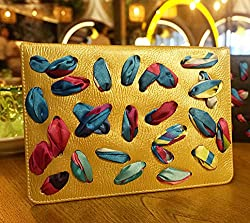 KolorFishTM Ribbon Funky Designer Leather Flip Stand Case Cover for Apple iPad Air 2 (Gold)