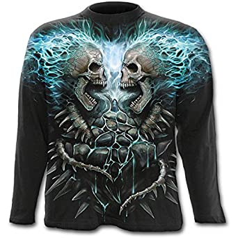 Spiral Direct Hommes 'Flaming Spine' T-Shirt Manches Longues Noir Tailles M