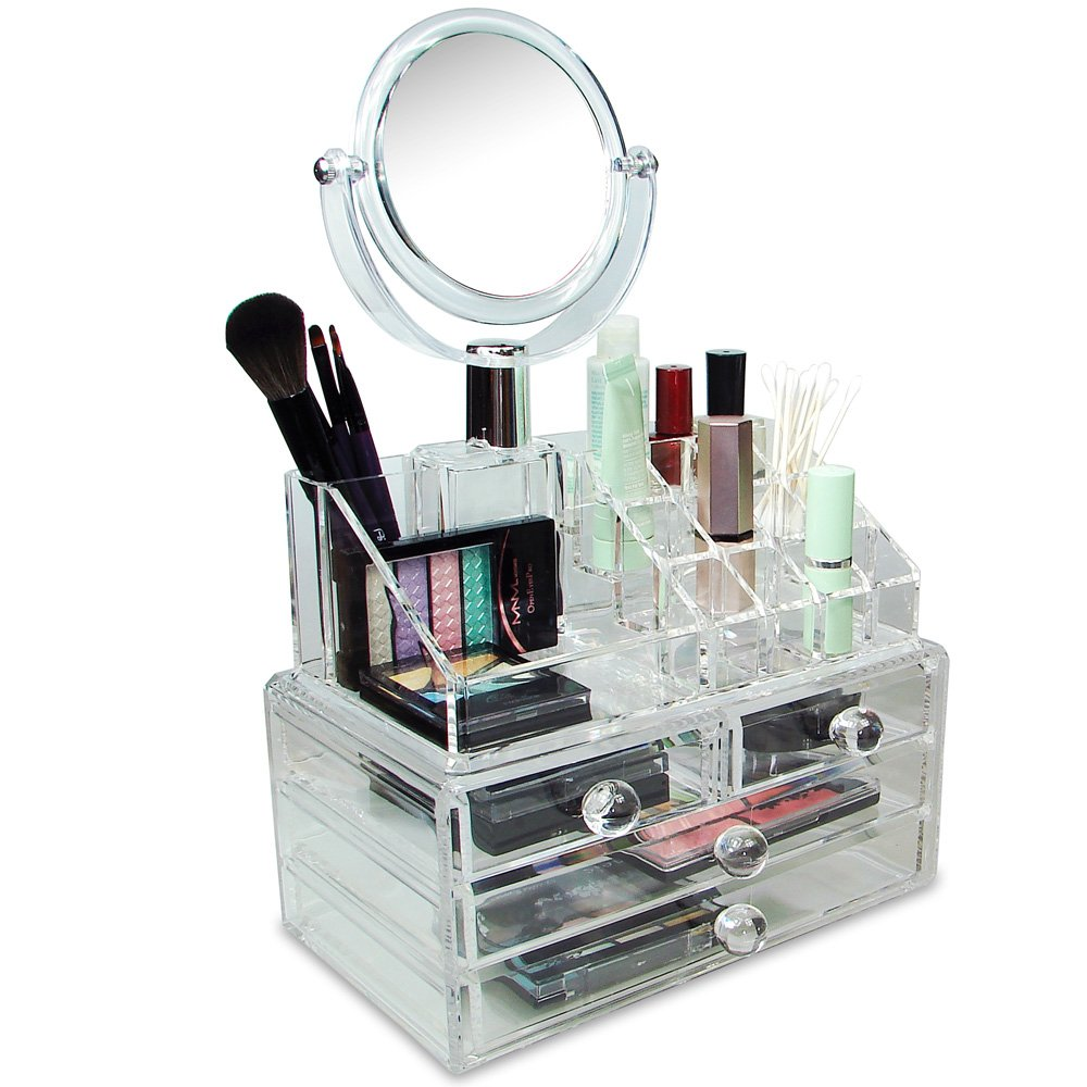 makeup organizer with drawers and mirror
