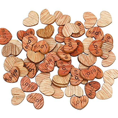 Buy Bargain 100pcs Love Heart Shape Wooden Scrapbooking DIY Wedding Decorations, 12mm x 10mm