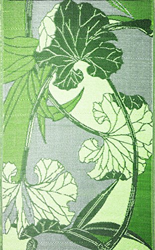 RV Mat Patio Mat (9 ft x 12 ft) Blossom, Reversible design in Green and Grey for under the Awnings or Outdoor Area Rug - by b.b.begonia
