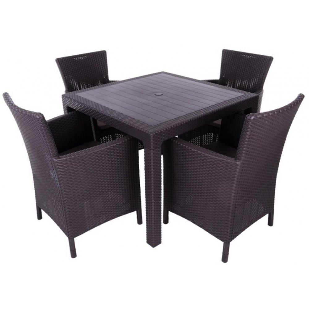 JUSThome Montana Gartenmöbel Sitzgruppe 4x Sessel + Tisch in Rattan-Optik Braun Beige günstig kaufen