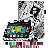 Fintie Amazon All New Kindle Fire HD 7 inch Slim Fit Folio Case with Auto Sleep / Wake Feature (will only fit All New Kindle Fire HD 7 2013 Model) - Newspaper