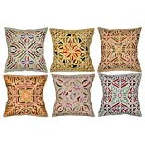 """Home Decor Cut Work Cotton Embroidered Cushion Covers, Size 16 X 16 """" Set Of 10 Pcs"""