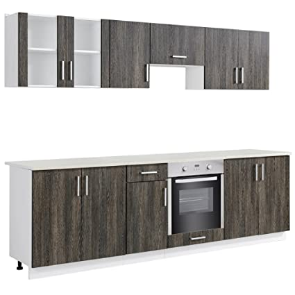 vidaXL Wenge Look Kitchen Cabinet Unit with Built-in Oven 8 Functions