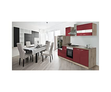 Respekta Kitchen Chef Row 270 cm Empty Block Oak Rough-Sawn Sonoma Red Furniture Parts LBKB270ESR