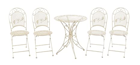 Set garden table and 4 chairs iron garden furniture antiquestyle cream white