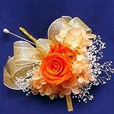 683【コサージュ】【結婚式、入学式、卒業式】プリザーブド・バラ マンダリンオレンジ 1輪