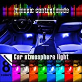 Thunder® 4-Piece Multi-Color 8 Color LED Interior Underdash Lighting Kit - Interior Atmosphere Neon Lights Strip for Car With Sound Active Function, Wireless IR Remote Control and Charger