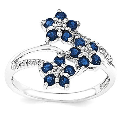 Sterling Silver 3 Flower Sapphire and Diamond Ring