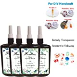 4X 250ML Crystal Epoxy Resin UV Glue Nail Art Tools For DIY Home Professional Handcraft Jewelry Earrings Necklace Bracelet Nail Art Accessories (Tamaño: 4Pcsx250ML Resin)