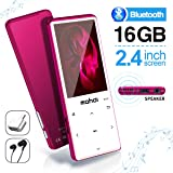 MYMAHDI MP3 Player with Bluetooth 4.2, Touch Buttons with 2.4 inch Screen, 16GB Portable Lossless Digital Audio Player with FM Radio, Voice Recorder, Support up to 128GB, Pink (Color: Pink-16GB)