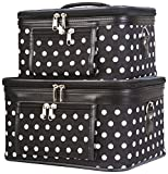 World Traveler 2-Piece Polka Dots Cosmetic Train Case, Black and White