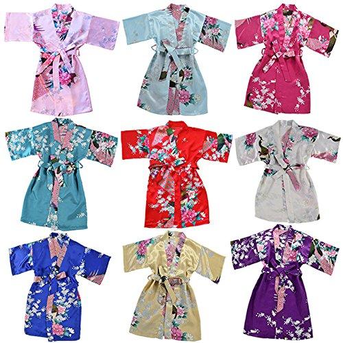 joytton girls satin kimono robe for spa party wedding