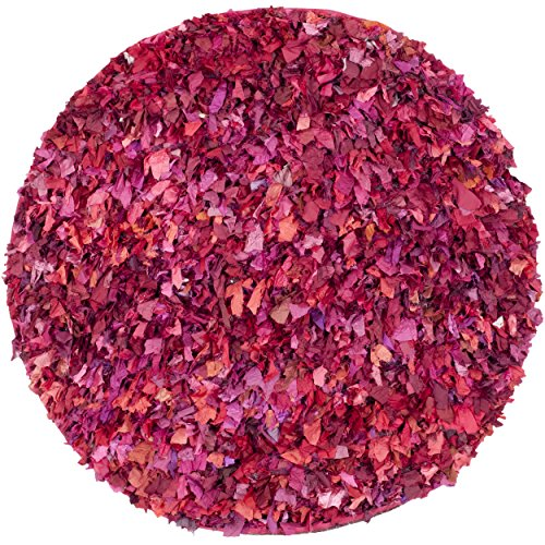 Safavieh Rio Shag Collection SG951F Handmade Fuchsia and Multicolored Round Shag Area Rug, 4 feet in Diameter (4' Diameter)