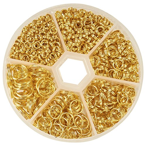PandaHall Elite Split Rings Jump Ring 4-10mm Gold Color 1 Box for Jewelry Making (9mm Split Ring compare prices)
