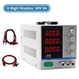 DC Power Supply Variable,0-30V 0-5A,4-Digital LED Display, Precision Adjustable Switching Regulated Multifunctional Power Supply Digital with USB Interface, Disply with Output Power Lab Grade