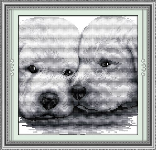 """Cross Stitch Kit, Kissing Dogs Lean Together 13.5""""X13.5"""""""