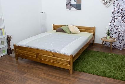 Doppelbett / Gästebett Kiefer Vollholz massiv Eichefarben A13, inkl. Lattenrost - Abmessung 160 x 200 cm