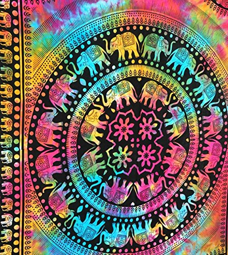Tie Dye Elephant Mandala Hippie Tapestry, Hippy Mandala Bohemian Tapestries, Indian Dorm Decor, Psychedelic Tapestry Wall Hanging Ethnic Decorative (Multi Color) (Tie Dye Quilt compare prices)