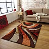Living Room Area Rug Shaggy #26 Brown with Orange ~5 ft. x 7 ft. (152 in. x 214 in.) FREE RUG PAD INCLUDED
