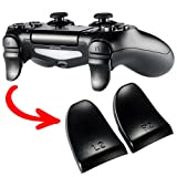 eXtremeRate Black Trigger Extenders L2 R2 Buttons, Game Improvement Adjusters for Playstation 4 PS4 Pro PS4 Slim Controller - 2 Pairs (Color: Black, Tamaño: JDM-001/011/040/050/055)