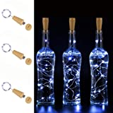 AnSaw USB Powered 20LED Wine Bottle Cork Lights 3 Pack Rechargeable Bottle String Lights Bottle Starry Fairy Home Twinkle Decorative Lights for Party, Christmas, Halloween,Wedding (Cool White) (Color: Cool White)