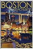 Boston, Massachusetts - Skyline at Night (12x18 Art Print, Wall Decor Travel Poster)