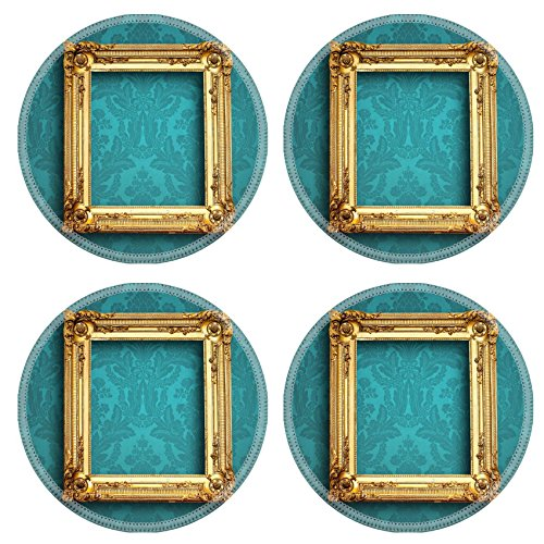 Liili Round Coasters 4 Pieces per order picture empty frame on blue vintage wallpaper Image ID 22529613