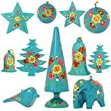 Set of 11 Turquoise Paper Mache Diwali Ornaments - Handmade Indian Gifts