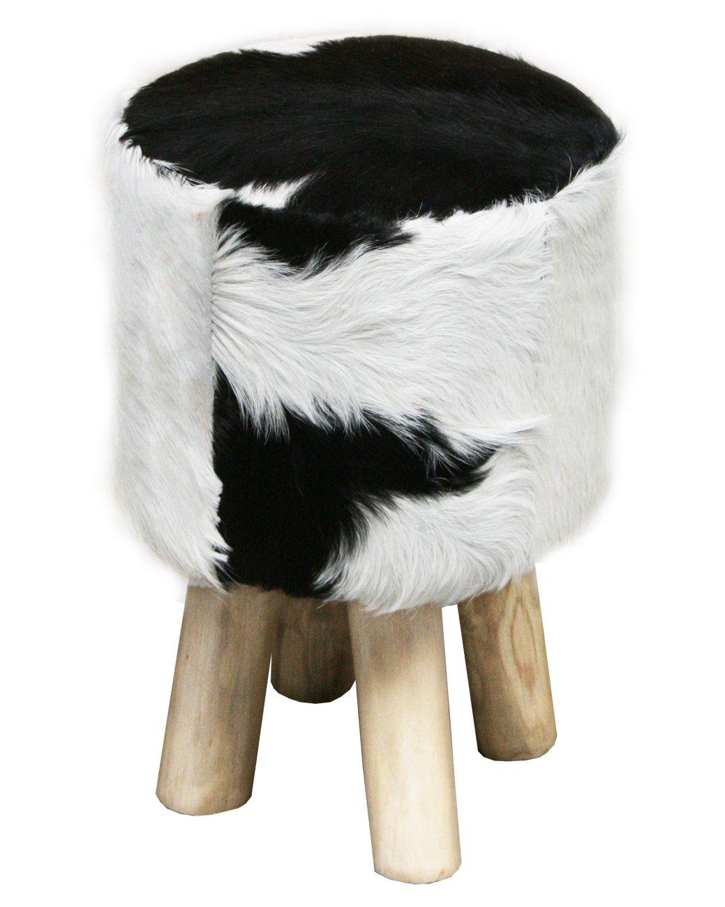 LioLiving®, Hocker im VintageLook mit echtem Ziegenfell (rund) (#400009)    Kundenberichte und weitere Informationen