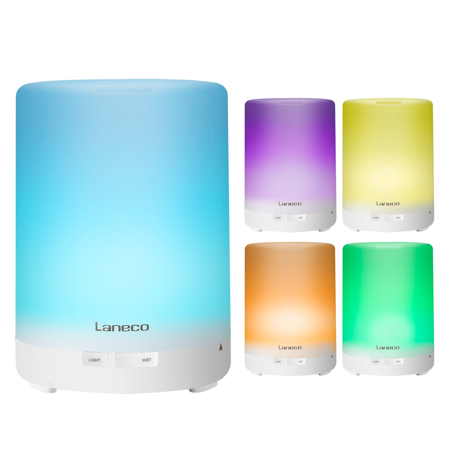 ( Essential Oil Diffuser ) Laneco 300ml Portable Cool Mist Aroma Humidifier ( Ultrasonic Aromatherapy And Waterless Auto off ) With 7 Color Changing LED Light For Baby Room Home Bedroom Office Yoga