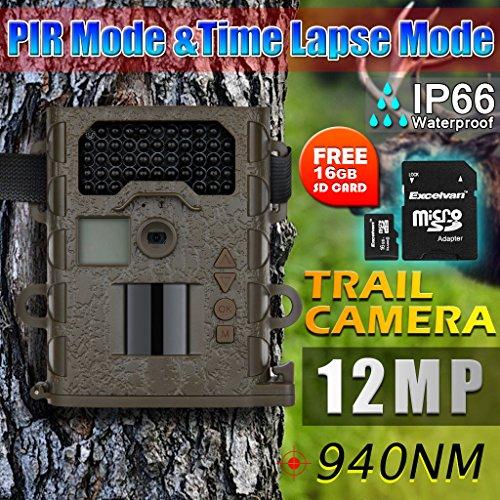 """Excelvan® 12MP 940NM MINI Black&White 1.5"""" LCD Bildschirm Wildkamera Überwachungskamera 12MP mit Zeitraffer Funktionen + 16GB SD Karte"""