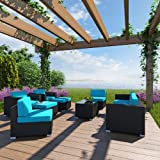 LexMod Avia 10-Piece Outdoor Wicker Patio Sectional Espresso Sofa Set with Turquoise Cushions