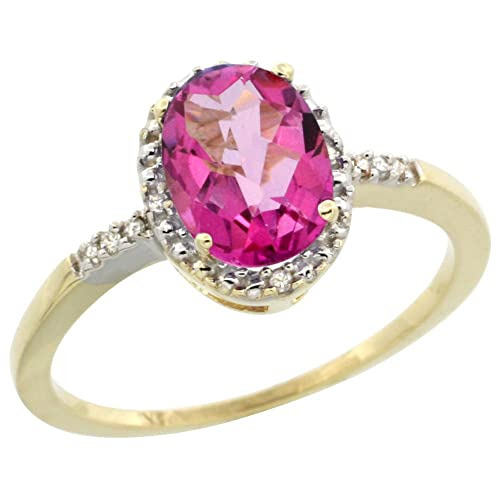 9ct Yellow Gold Diamond Natural Pink Topaz Ring Oval 8x6mm, sizes J - T